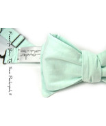 Blue Seafoam Chambray self-tie Wedding Mens Bow Tie - $60.00