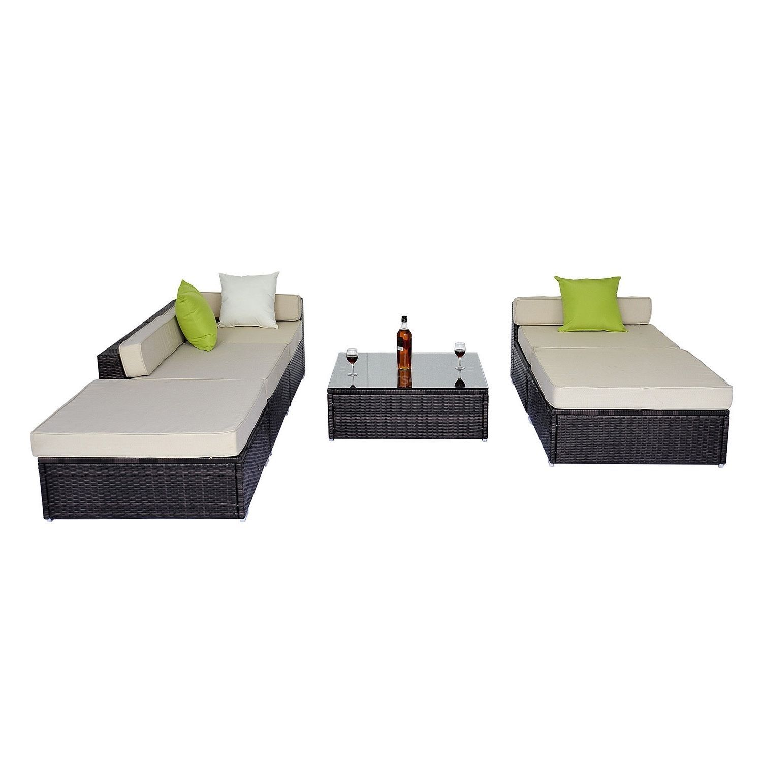 Garden Corner Sofa Rattan Set Luxury Wicker Conservatory Patio Furniture Brown image 9