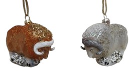 Set of 2 MUSK OX Arctic Glass Christmas Ornaments - $36.00