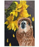Sunflower & Llamas Poster Gift For Friend, Awesome Multisize Wall Decor ... - $25.59+