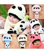 Winter Baby Hat Scarf Set Cute Cartoon Panda Warm Fleece Kids Hat Plus S... - $7.59