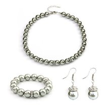 UNITED ELEGANCE Gray Faux Pearl Necklace With Coordinating Bracelet & Earrings - $24.99