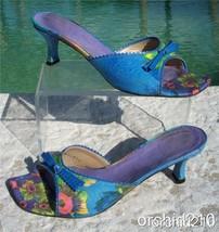 Stuart Weitzman Capri Peony Linen Leather Shoe Sandal Euc 7.5 Slide $275 - $64.95