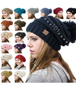 BRAND NEW CC Beanie Trendy Oversized Hat Thick Solid Cable Knit with Pom... - $11.11+