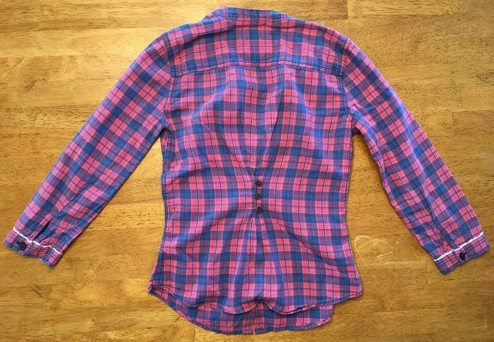 Abercrombie Kids Girl's Blue & Pink Plaid V-Neck Dress Shirt - Medium image 12