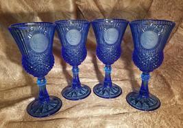 Vintage 1976 Avon Cobalt Blue George Washington Water Goblets, Set of 4 - $18.00