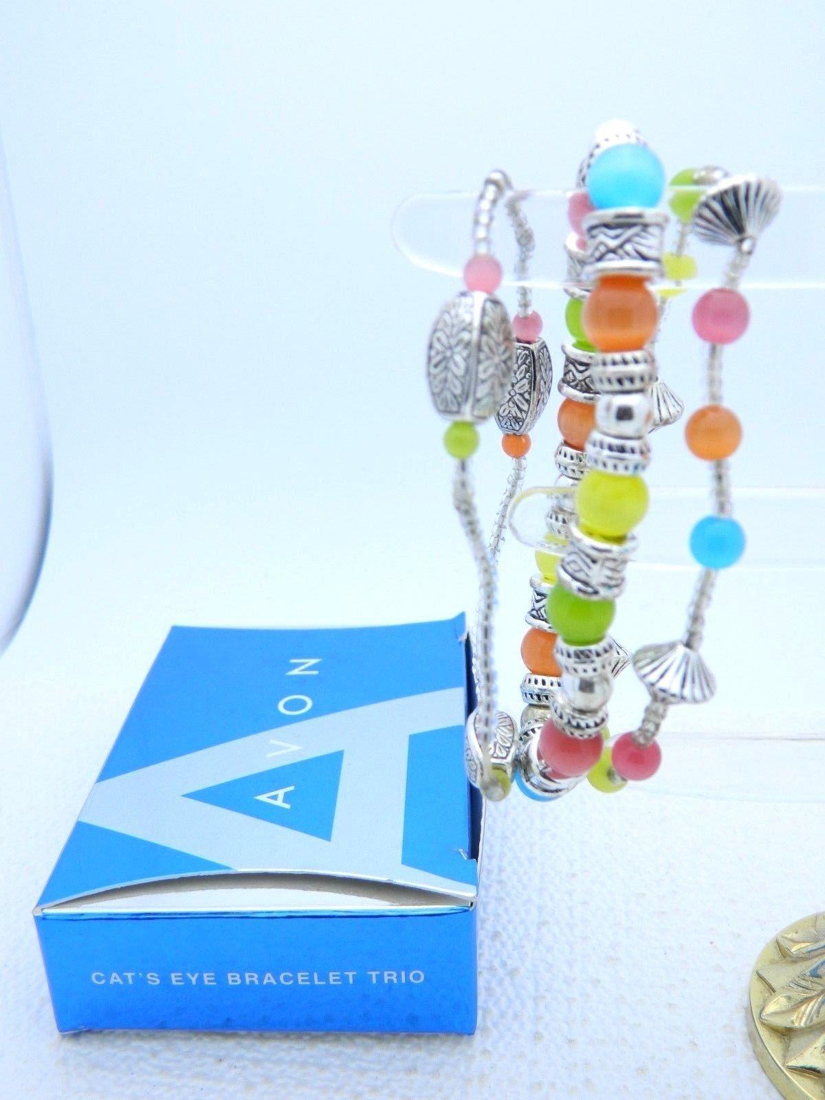 VTG 2007 AVON Cat's Eye Bracelet Trio Silver Tone Multi-Color Elastic