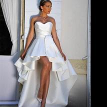 Sleeveless Satin Ruffles High Low Sweetheart Beach Bridal Gown image 1