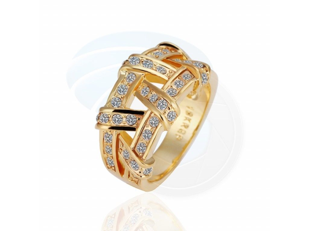 Size 8 Ashbury Metal 18K Yellow Gold Plated Rhinestone Crystal Ring