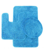 Florence 3 Piece Bathroom Rug and Toilet Seat Cover Set Light Blue - $25.99