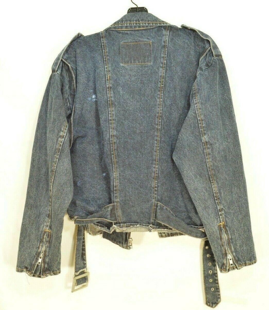 Jordache jeans jacket SZ M denim moto style vintage zippers pockets belt dark image 8