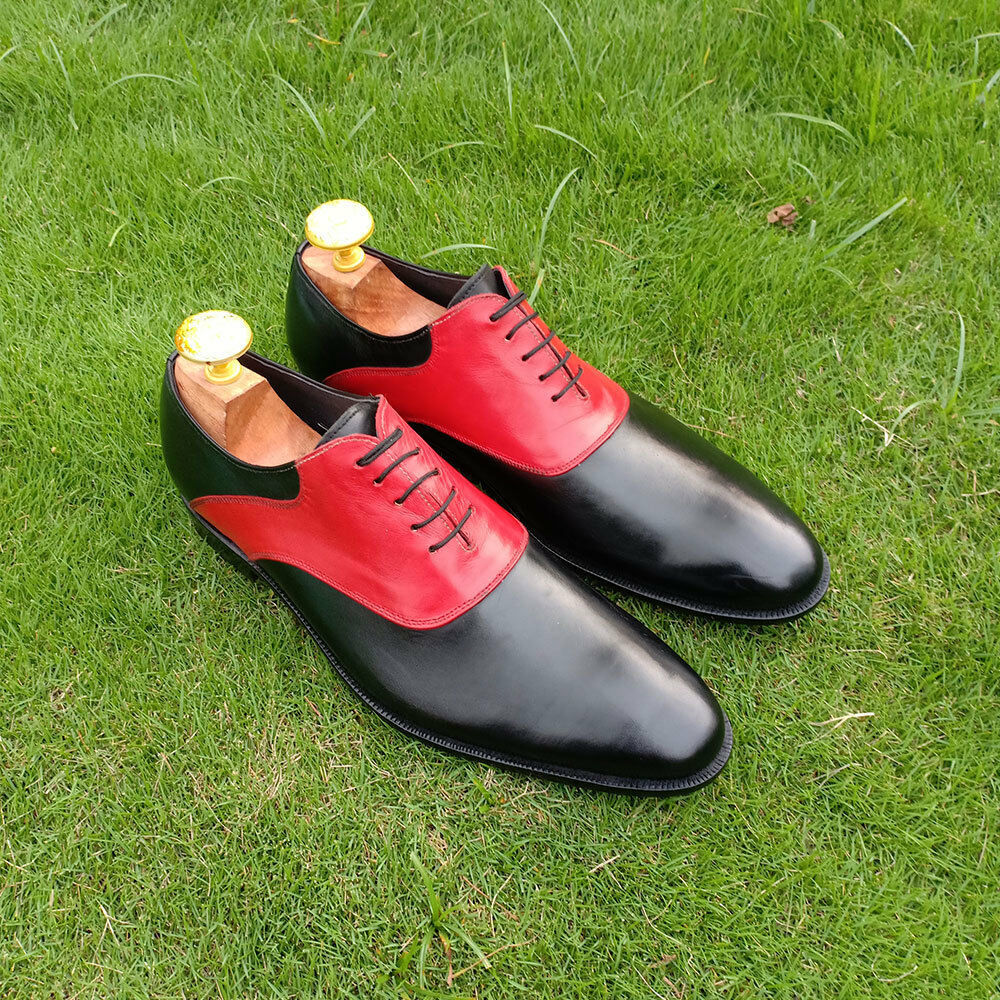 Handmade Men's Black and Red Dress/Formal Oxford Genuine Leather Shoes