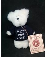 "Boyds Bear 4""  Mini Bear Message ""Miss You Lots!""  in Purple Sweater NWT - $74.20"