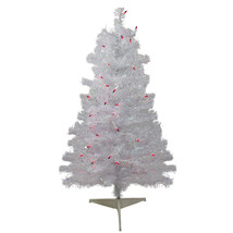 3' x 22 White Iridescent Pine Tree 85 Tips 50 Pink Lights - $61.95
