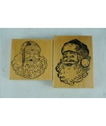 Lot of 2 Mounted Rubber Wood Stamps Christmas Santa Clause Face - $13.99