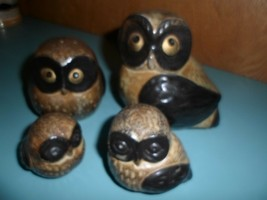 "Vintage Otagiri Japan O M C pottery 4 owls from 2"" to 5"",sticker in tact... - $28.70"
