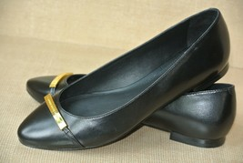 NEW Ralph Lauren Farrel Womens 7 M Black Leather Signature Loafers Balle... - $36.62