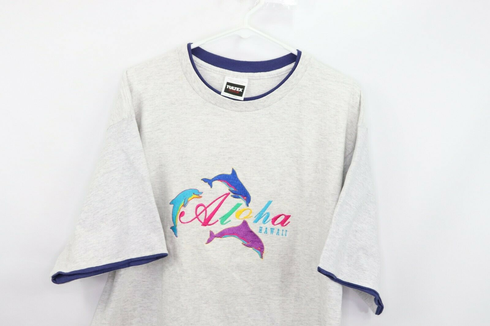 Vintage 90s Mens XL Aloha Hawaii Spell Out Dolphin Stitched Double Collar Shirt
