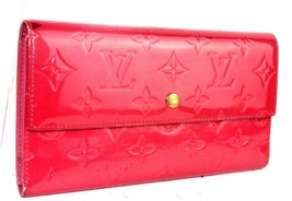 Auth LOUIS VUITTON  Vernis Leather Rose Pop Pink Portefeuille Long Walle... - $167.31