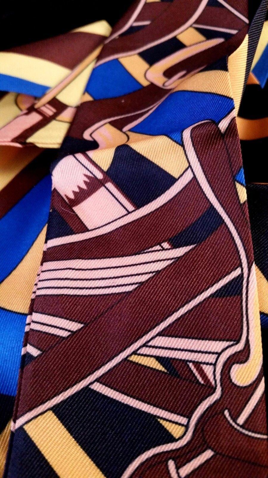 St. Germain Twilly Scarf Blue Gold Brown Buckle Purse Twill Luxury Equestrian
