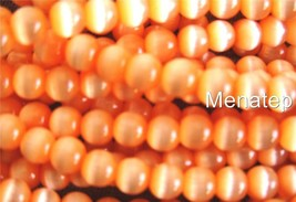 50 6 mm Fiber Optic Cats Eye Beads: Orange - $2.15