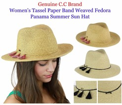 Brand NEW! C.C Women's Tassel Paper Band Weaved Fedora Panama Summer CC ... - $15.99
