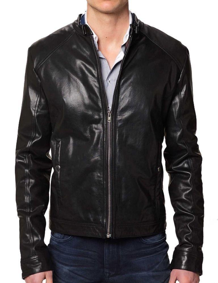 New Men's Stylish Lambskin Genuine Leather Motorcycle Biker Slim Fit Jacket  GN4