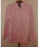 Women's Lee Pink Striped Shirt Button Down L Large L/s - $10.84