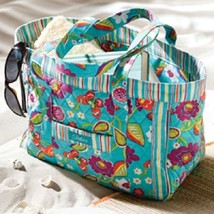 Longaberger Tote  Bag Teal Stripe Sisters Summer Lovin Purse New In Bag - $26.68