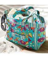 Longaberger Tote  Bag Teal Stripe Sisters Summer Lovin Purse New In Bag - $26.68