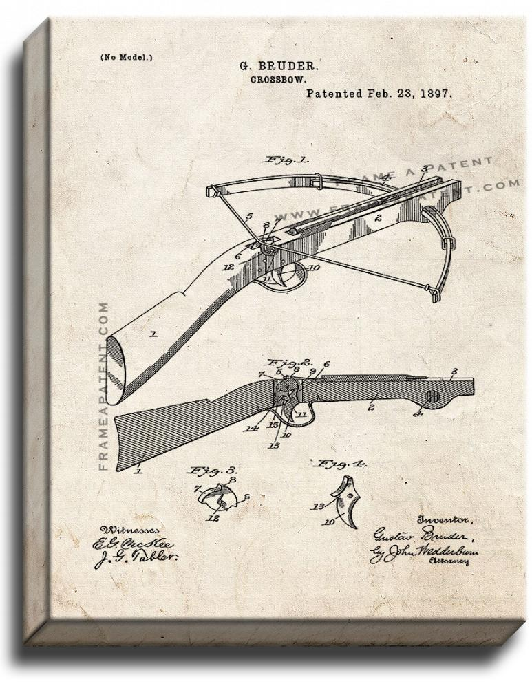 Primary image for Crossbow Patent Print Old Look on Canvas