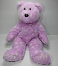 "Beanie Buddies Purple Polka Dot Bear with Bow 14"" - $17.41"