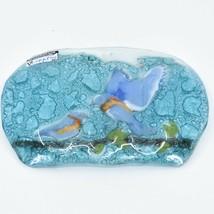 Fused Art Glass Bluebirds Bird Design Soap Dish Handmade in Ecuador image 2
