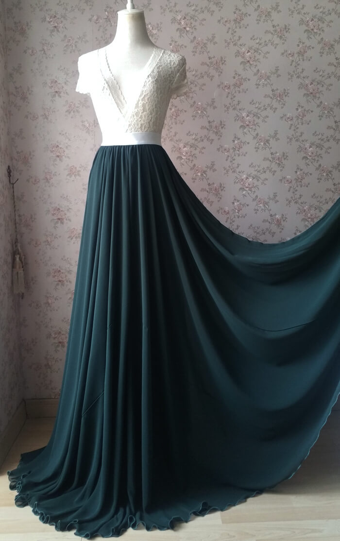 Dark Green Plus Size Maxi Chiffon Skirt Dark Green Bridesmaid Maxi Chiffon Skirt