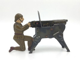 Ignition type machine gun  Made in German 1930s Toy Tin plate Used Rare B41 - $688.20