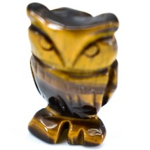 Tiger's Eye Gemstone Tiny Miniature Owl Figurine Hand Carved in China image 2
