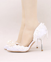 Women Ivory White Wedding Heels Bridal Sandal Heels Dress Shoes US Size ... - $99.99