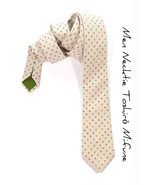 Men Necktie Woven yarn dyed cream with orange, green, yellow dots - $70.00