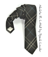 Men Necktie Woven yarn dyed black checkered, blue and cream tie - $70.00