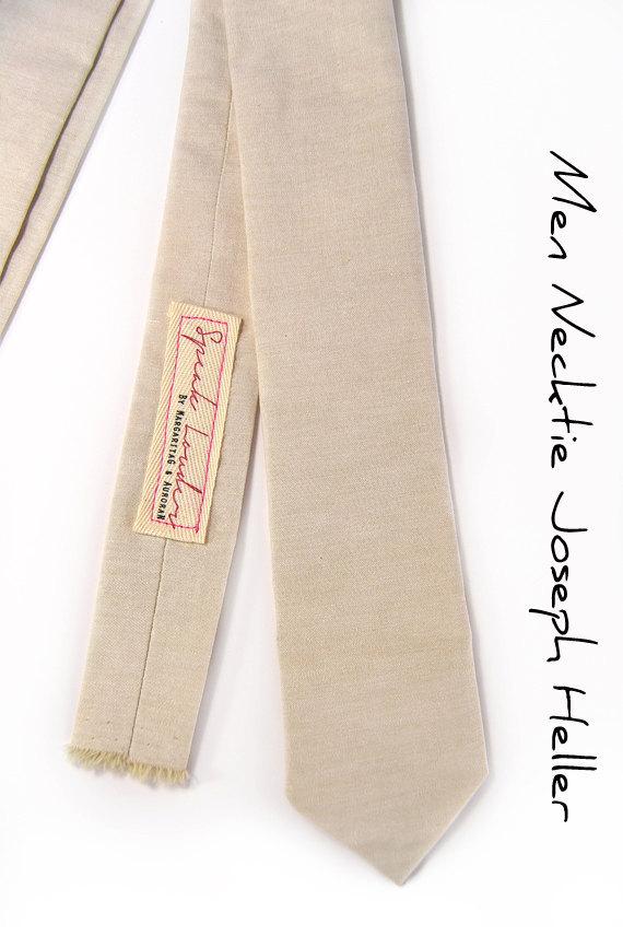 Khaki chambray necktie - Wedding Mens Tie Skinny Necktie  image 2
