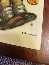 Wood Wall Art Plaque German Hummel Paper On Wood Boy in Fruit Tree - $14.84