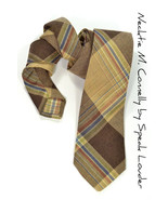 Mens Necktie Michael Connelly- Brown Checkered tie - $70.00