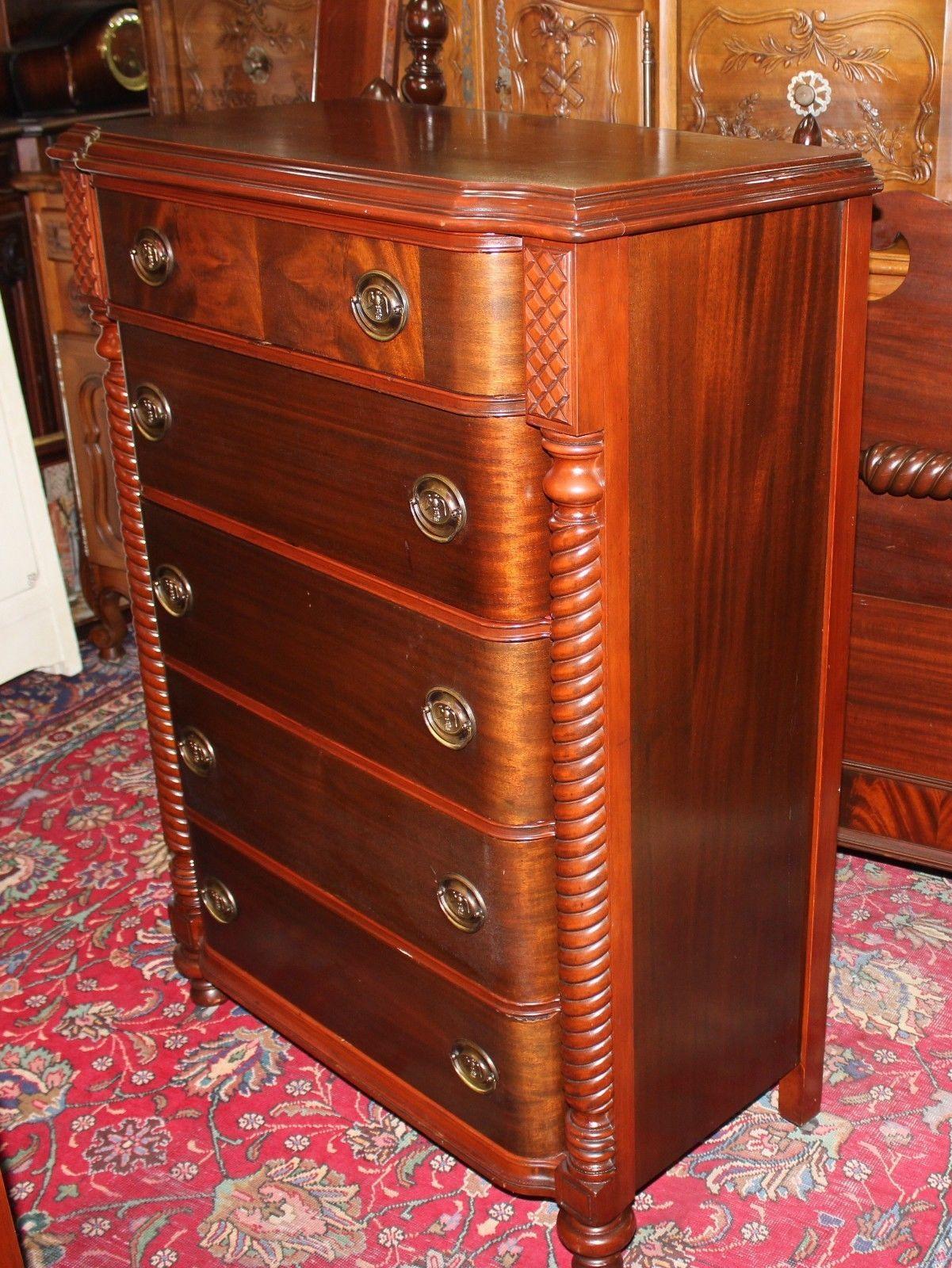 Beautiful American Antique Mahogany Bedroom Set 4 Pieces