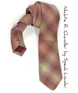 Men Necktie Woven yarn dyed red and cream checkered tie - $70.00