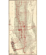"16""x31"" New York Map 1910 Subways Lines Streetcars Vintage Wall Art Post... - $26.24"
