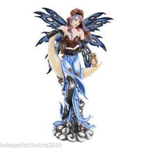 "Large 16.5"" H Sun Moon Fairy Statue Brown Owl Book Keeper Figurine Lantern - $62.35"