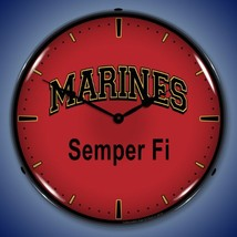 "United States Marines 14"" Back Lighted Wall Clock Retro Style Garage Art - $129.95"