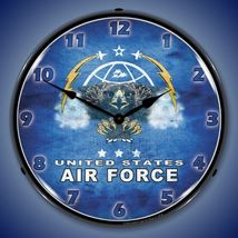 "United States Air Force 14"" Back Lighted Wall Clock Retro Style Garage Art - $129.95"