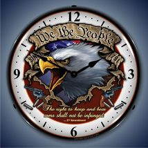 "United States We The People 14"" Back Lighted Wall Clock Retro Style Gara... - $129.95"