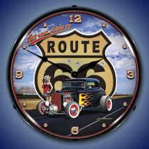 "Route 66 Hot Rod Grossman 14"" Back Lighted Wall Clock Retro Style GarageArt - $129.95"
